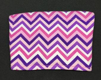 Reusable Fabric Coffee Sleeve / Reusable Coffee Cozy / Cup Sleeve / Eco Friendly Coffee Sleeve / Pink and Purple Chevron Print