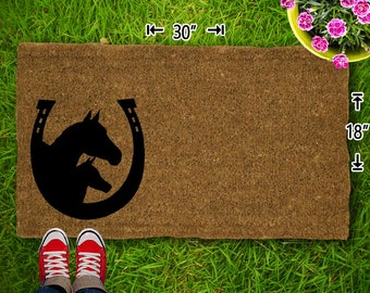 Ordinaire Horse / Horse Shoe Coir Doormat   18x30   Welcome Mat   House Warming   Mud  Room   Gift   Custom   Home Decor   Camping   Campsite