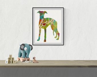 Whippet Love - A Colorful Watercolor Print - Gift for Dog Lovers - Pet Artwork - Pet Loss Gift - Dog Memorial - That Can be Personalized