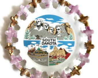 Vintage South Dakota collectible hanging plate / pink