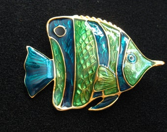 Tropical Fish Vintage Cloisonne Pin Green Blue Enamel Brooch Sealife Lapel Pin Animal Jewelry Gift Cloisonne Tropical Fish Pin