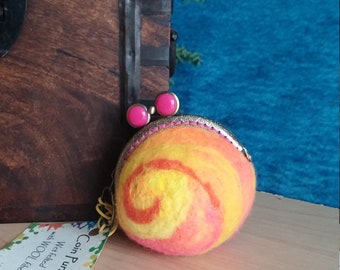 Coin Purse, Felted change Purse, Wool Purse, Functional Art Unique Gift