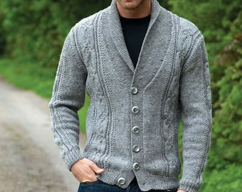 Men's scarf collar cardigan/cardigan