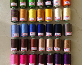 12 Spools of Silk thread, Indian Art silk embriodery threads, Art silk thread for machine use and silk tassel making