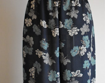Women's Navy Blue Floral Vintage Pants   Medium Size 10   1980's Retro Casual Summer Pants