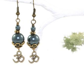Om Earrings with Tahitian Blue Swarovski® Pearls - Spiritual Jewelry