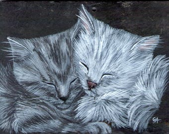 Cat acrylic painting on Slate