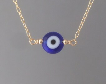 Blue Evil Eye Gold Necklace available in rose gold or silver