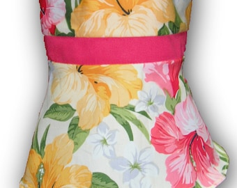 "Watermelon Yellow Floral 18"" Doll Clothes Sleeveless Above Knee Dress w/ Invisible Back Zipper"