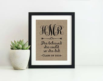 College Graduation Gift for Her- She Believed She Could So She Did- Graduation Gifts for Daughter- Class of 2017- High School Graduation