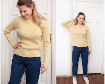 90s Mock Neck Sweater Pastel High Neck Pullover Womens Small Medium Rib Knit Polo Neck Jumper Pale Yellow Mock Turtleneck Metallic Sweater M