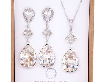 Bridesmaid Earrings Necklace Jewelry Set, Personalized Bridal shower Gift, Wedding Jewelry Set, Swarovski Crystal, Vintage style, penelope