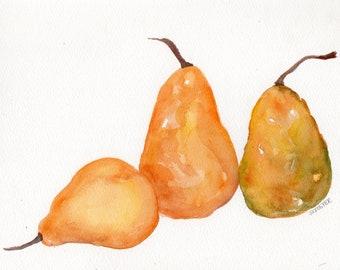 Pears watercolor painting original still life 8 x 10 Rustic kitchen decor, food wall art, Farmhouse style, fruit art, pears illustration