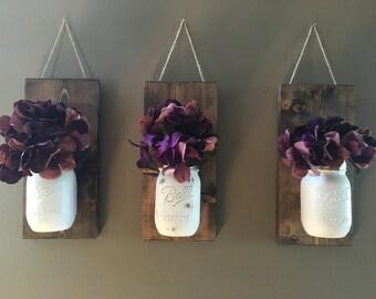 Floral Wall Sconce | Individual Mason Jar Sconce | Flower Vase Mason Jar | Rustic Decor | Painted Mason Jar | Floral wall sconce