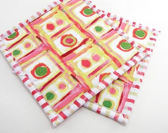 Modern Hot Pads, Quilted Pot Holders - Coral Orange, Olive Green, and White Cotton Fabric Potholders - Hostess Gift, Housewarming Gift