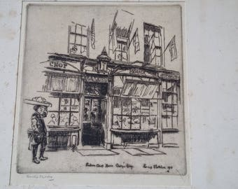 Large Vintage Engraving Print of 'Bakers Chop House' Signed Fletcher 1915