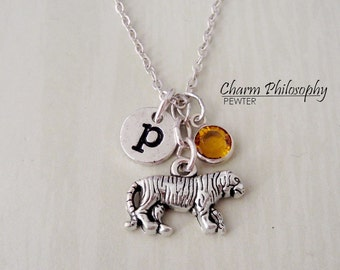 Tiger Necklace - Antique Silver Tiger Charm - Monogram Personalized Initial and Birthstone