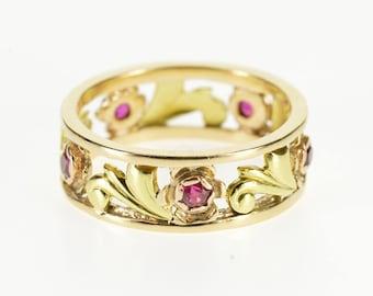 14k Two Tone Ruby Ornate Scroll Vine Band Ring Gold