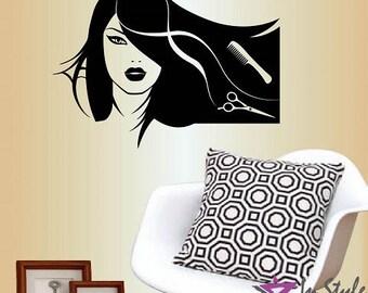 Wall Vinyl Decal Home Decor Art Sticker Hair Salon Logo Girl with Stylish Hair Scissors Haircut Hair Dresser Removable Mural Design 14