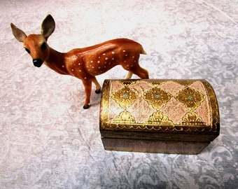 Vintage Trinket Box, Florentine Gold + Ecru, Made in Italy, Vanity Dresser Organizer, Shabby Chic, Hinged Lid, Little Trunk, Royalty, Bridal