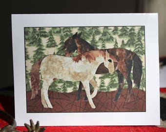 Bay and Red Roan Mustang Stallions in Standoff - Blank Photo Note Cards in sets of 4 or 8 cards