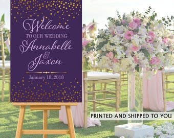 Welcome to Our Wedding Sign - Gold and Plum Sparkle Bride & Groom Sign- Reception Sign Printed Wedding Ceremony Sign