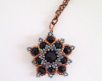 Titania pendant in black and bronze - star necklace - fairy - fantasy jewelry - elf costume - flower - statement - crystal - copper - blue