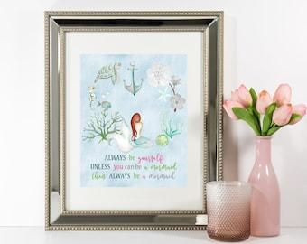 BEAUTIFUL Nursery Wall Art, MERMAID Nursery Room Wall Decor, Watercolor Mermaid Wall Decor, Instant Download, Digital Image, Sea Life Turtle