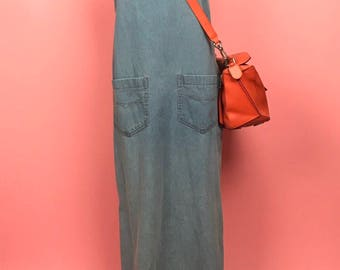 Chambray denim overall maxi dress M/L