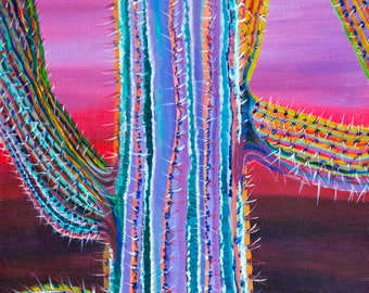 Saguaro Window - Colorful Abstract Art - Paper Print