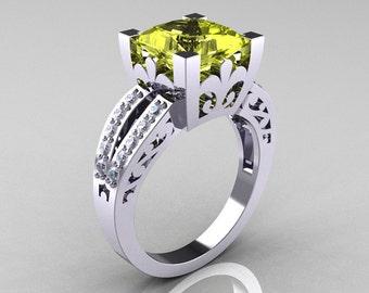French Vintage 14K White Gold 3.8 Carat Princess Yellow Topaz Diamond Solitaire Ring R222-WGDYT