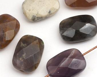 6 pcs faceted rectangular sage amethyst beads, grey brown purple, semiprecious stone 18mm