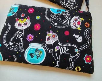 SUGAR SKULL KITTY Zippered Wallet  Pouch Make Up Bag Pencil Case Anime Cosplay