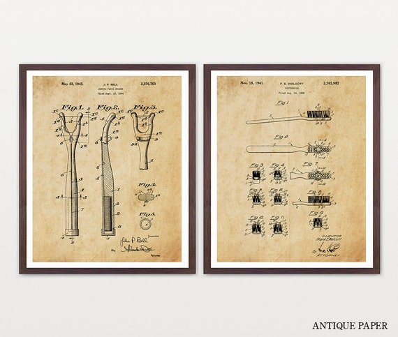 Toothbrush - Toothbrush Patent - Dental Floss - Hygiene - Bathroom Patent - Bathroom Patent Art - Patent Poster - Dentist Patent - Teeth