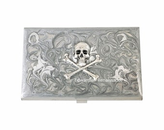 Steampunk Skull and Crossbones Business Card Case Inlaid in Hand Painted Enamel Silver Scroll Design with Personalized and Color Options