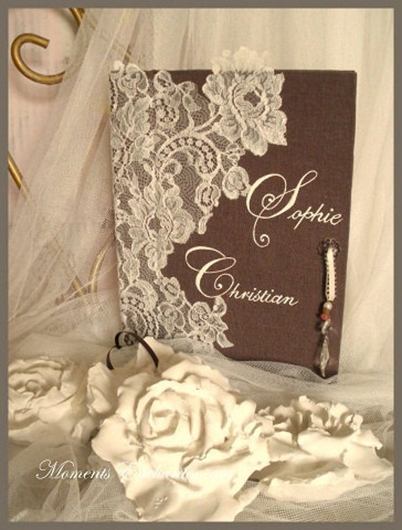 Very nice guestbook lace french of Calais wedding chic elegant wedding journal linen brown white or ivory lace mothers' Day