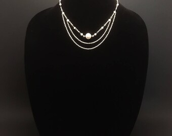 Beaded layered silver choker, simple and pretty, pearls, for her