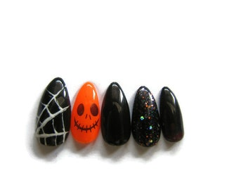 Halloween Nails - Almond Nails - Coffin Nails - Round Nails - Black Nails - Orange Nails - Accent Nails