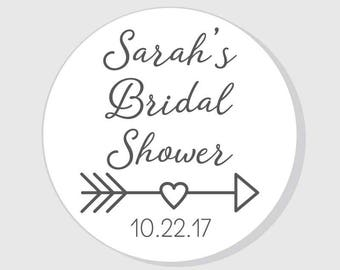 Thank You Bridal Shower Stickers with heart arrow - Thank You - 1.5 inch - 2 inch - 2.5 inch - 3 inch - favor - gift bag - envelope seal
