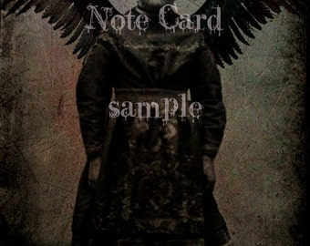 NOTE CARD no1 Little Girl Dark Angel > Gothic Girl Halloween > 5.5 x 4 Suitable for FRAMING - Art Print - Rare Photo > Peculier Children