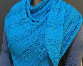 Handknitted cotton shawl/ wrap, unique, ready to ship