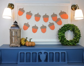 Large Acorn Paper Garland -Fall Autumn Banner - Brown and Orange - 6 feet