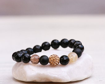 Black agate bracelet, Rutile quartz bracelet, Smoky quartz bracelet, Onyx Bracelet,Balance Protection Bracelet,Stretch Bracelet,Gift for her