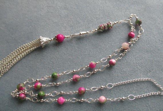 Persian Jade Convertible Lanyard / ID Badge Necklace L112171