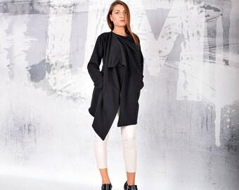 Women coat,Black coat, cotton coat, Sweatshirt jacket, Woman Blazer, Asymmetric Coat, Loose Coat, Oversize coat, urbanmood - Um-206-QC