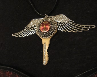 Steampunk, Steampunk Necklace, Watch Face, Vintage Key, Necklace, Gothic, Victorian, Steampunk Necklace, Wings, Womens Necklace