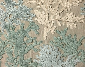 Upholstery Fabric - Reef - Laguna - Coral Pattern Cut Velvet Home Decor Upholstery & Drapery Fabric by the Yard - Available in 12 Colors