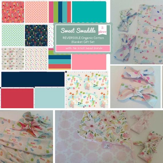 Custom Sweet Swaddle Gift Set - Organic Cotton Reversible Baby / Toddler Blanket & Headband Set - Seaside Fun - Mermaids, Starfish