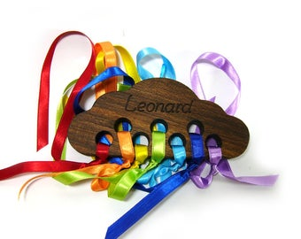 Rainbow cloud wood - personalized