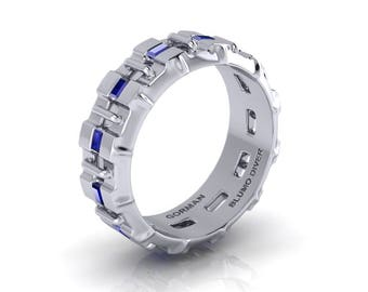 GDS Blumo Deep Sea Diver 14K White Gold Blue Sapphire Original Men's Ring G1177-14KWGBS
